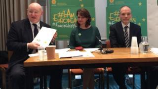 Hywel Williams, Leanne Wood and Volker Roeben