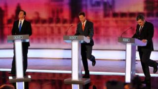 David Cameron, Nick Clegg and Gordon Brown during the BBC's 2010 televised leaders debate