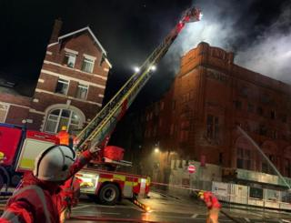 Firefighters at Crown Theatre, Eccles