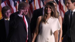 Donald and Melania Trump and family