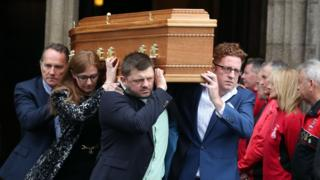 Brendan Duddy's coffin is carried from St Eugene's Cathedral