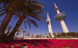 Flowers in front of the Kuwait towers