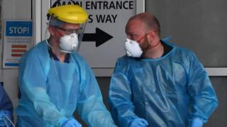 Medical staff in protective gear at Royal Liverpool University Hospital