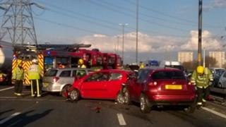 Cars crashed on motorway
