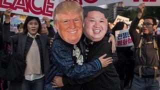 Una manifestación por la paz entre Corea del Norte y EE.UU., sostenida en Seúl el 5 de noviembre de 2017