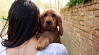 Mulher de costas com cachorro