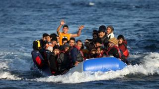 Migrants on a boat that reached Lesbos on 17 November 2015
