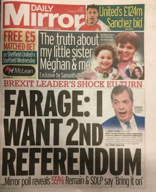 front page of the Daily Mirror Friday 12 January 2018