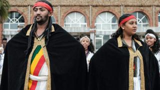 Ethiopians in traditional dress waiting at an airport in Gondar, Ethiopia - Friday 9 November 2018