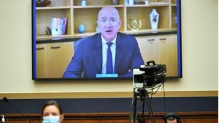 Jeff Bezos testifies in a remote video