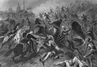 A scene from the battle at Kanpur where an entire British garrison, including women and children, was wiped out during the Indian Mutiny