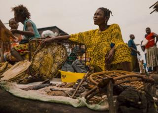 Marie Telese, a seller of bushmeat at Makila market