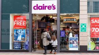 Frontage of the Claire's Accessories store. On Listergate, Nottingham, England. On 22nd October 2016