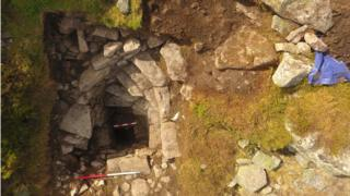Aerial image of well on Mither Tap, Bennachie