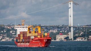 İstanbul Boğazı'ndan geçiş yapan bir kuru yük gemisi.