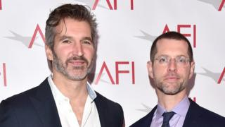 David Benioff (left) and DB Weiss (R) pictured in front of an American Film Institute banner at an awards ceremony in 2017