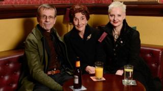 Tom Watt and Linda Davison with June Brown