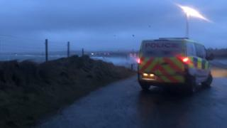 Police at Braighe, Lewis, Wednesday morning