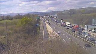Traffic queuing at Junction 23