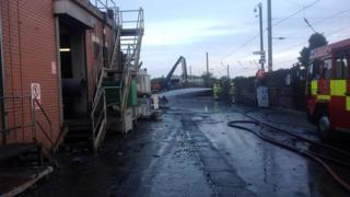 The morning after the large fire at the Sackers scrap yard at Great Blakenham
