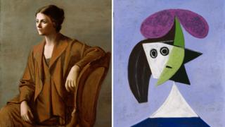 (from left) Portrait of Olga Picasso by Pablo Picasso, 1923; Private Collection © Succession Picasso/DACS London, 2016; Woman in a Hat (Olga) by Pablo Picasso, 1935; Centre Pompidou, Paris. Musée national d'art moderne © Succession Picasso/DACS London, 2016 Photo: Centre Pompidou, MNAM-CCI, Dist. RMN-Grand Palais/Rights reserved.