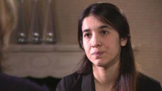 صورة نادية مراد خلال مقابلة مع بي بي سي