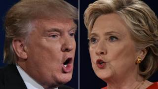 Donald Trump (à esquerda) e Hillary Clinton