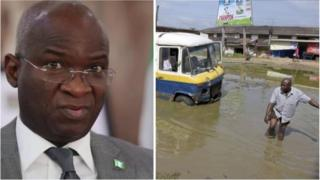 Babatunde Raji Fashola (Left) and Bad condition of Port Harcourt Aba express road for Southern Nigeria (Right)