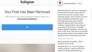 Unggahan di akun Instagram @amienraisofficial yang dihapus karena dianggap tidak sesuai dengan aturan komunitas.