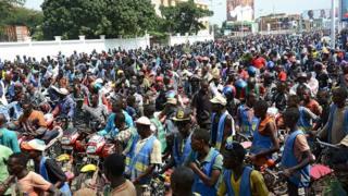 Plenty people wey dey protest for Burundi