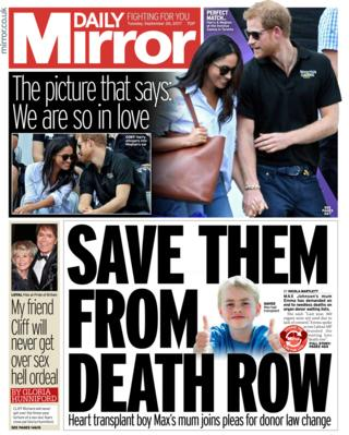 Daily Mirror front - 26/9/17