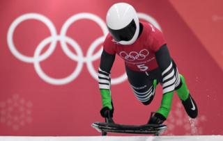 Simidele Adeagbo of Nigeria starts her women's skeleton training session at the Olympic Sliding Centre, during the Pyeongchang 2018 Winter Olympic Games in Pyeongchang, South Korea on February 14, 2018.