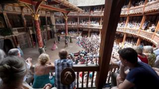 A performance taking place at the Globe Theatre in London.