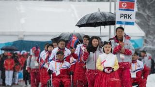 North's Paralympic team arrives in South Korea, 8 March