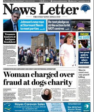 front page of the News Letter Friday 26 July 2019