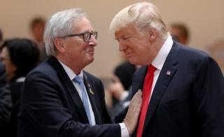 U.S. President Donald Trump (R) and President of the European Commission Jean-Claude Juncker in Hamburg in 2017