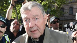 George Pell attends a sentence hearing at a Melbourne court on 27 February 2019