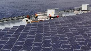 Overwater photovoltaic power plant in Huaibei, China