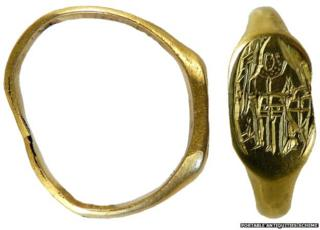Medieval ring with St George image
