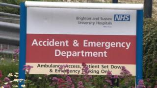 Accident and emergency sign outside a hospital