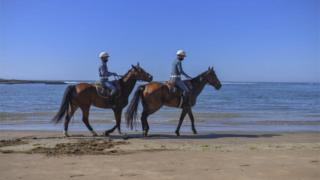 Two uniformed officers ride horses along the shore.