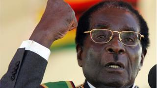 """Zimbabwe""""s President Robert Mugabe addresses a speech, on April 18, 2008 during celebrations for the country""""s independence 28th anniversary"""