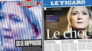 Front covers of French newspapers Liberation and Le Figaro