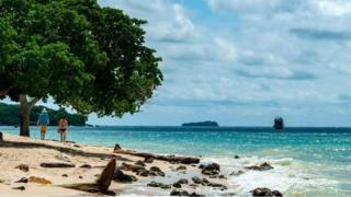Casal caminha em praia paradisíaca