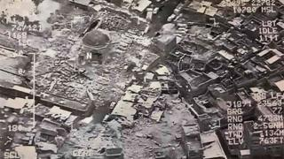This aerial view taken on June 21, 2017 and provided by Iraq's Joint Operation Command reportedly shows destruction inside Mosul's al-Nuri mosque compound
