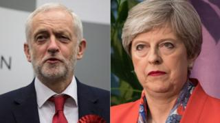 Corbyn and May on election night
