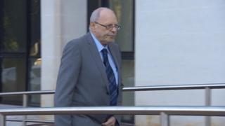 Geoffrey Bran arriving at Swansea Crown Court