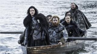 Game of Thrones actors on a boat