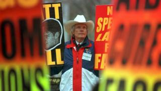 Rev Fred Phelps and his flock protest in Laramie in April 1999