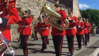 The band at the front of the RGLI parade sets off